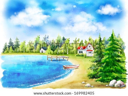 Houses surrounded by trees with a lake in front of them. - stock photo