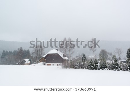 Houses typical for the black forest near Titisee in Germany during heavy snowfall - stock photo