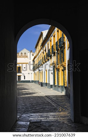 Houses viewed through archway in the old Jewish quarter of Seville, Andalucia, Spain - stock photo