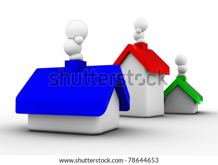 houses with colorful roofs in the format rgb