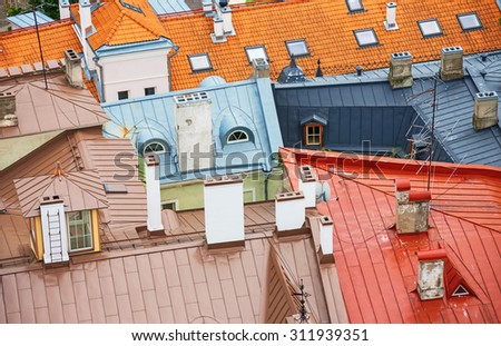 Houses with red roofs in old Tallinn. - stock photo