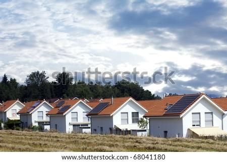 Houses with Solar energy - stock photo