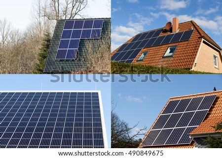 houses with solar panels collage