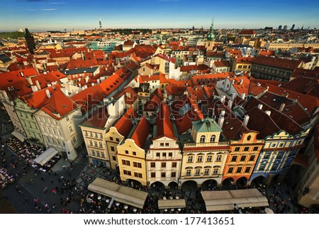 Houses with traditional red roofs in Prague Old Town Square in the Czech Republic.  - stock photo