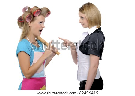 Housewife and businesswoman find out a relationship - stock photo