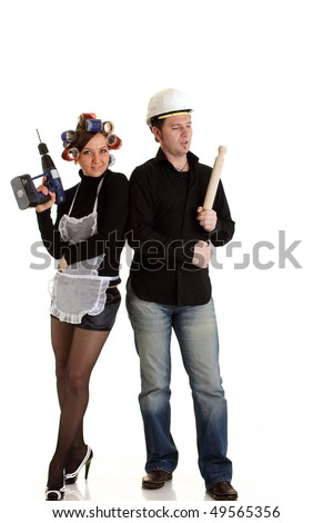 Housewife and constructor isolated - stock photo
