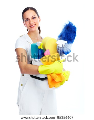housewife cleaner. Isolated over white background - stock photo