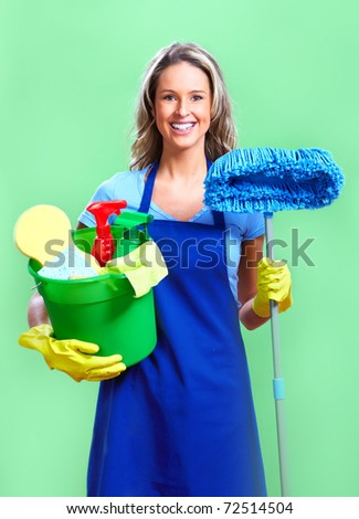housewife cleaner. Over green background - stock photo