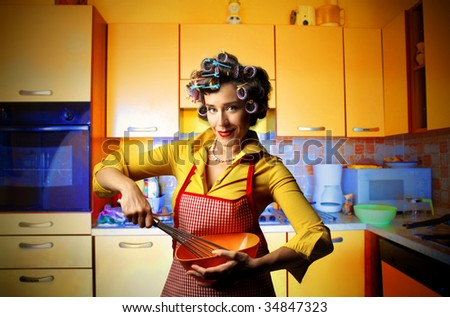 housewife cooking - stock photo