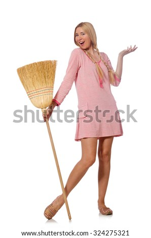Housewife doing home cleaning isolated on white - stock photo