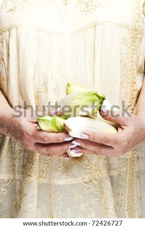 Housewife holding bunch of endives