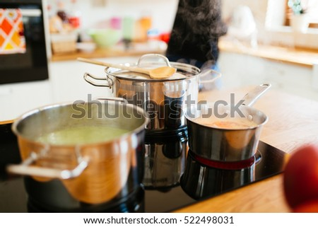 Housewife making lunch in modern kitchen