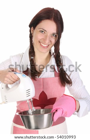 housewife preparing with kitchen mixer on white  background - stock photo