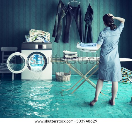 Housewife`s dreams. Creative concept. Photo combination - stock photo
