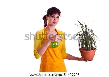 housewife waterig a flower - stock photo