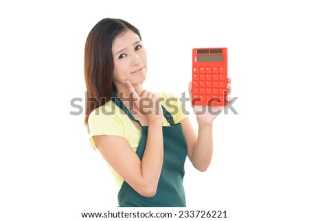 Housewife with calculator