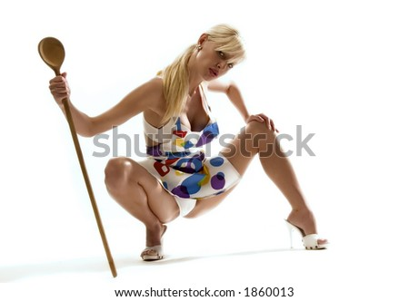 housewife with ladle - stock photo