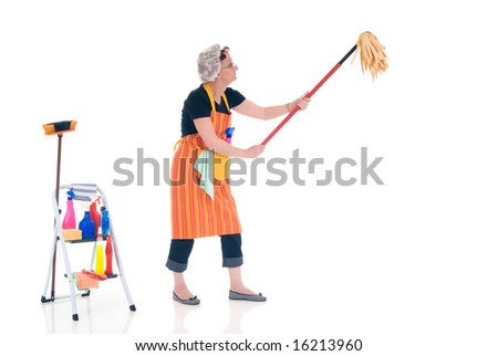Housewife, woman attending to daily household.  Ladder with household, housekeeping  products.