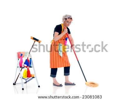 Housewife, woman attending to daily household.  Ladder with household, housekeeping  products. - stock photo