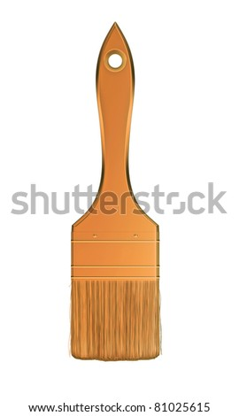 Housework and renovation: golden paintbrush isolated over white background