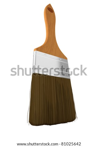 Housework and renovation: paintbrush isolated over white background - stock photo