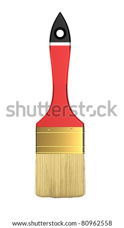 Housework and renovation: red paintbrush isolated over white background
