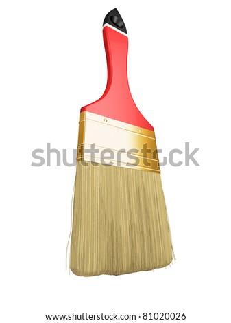 Housework: red paintbrush isolated over white background - stock photo