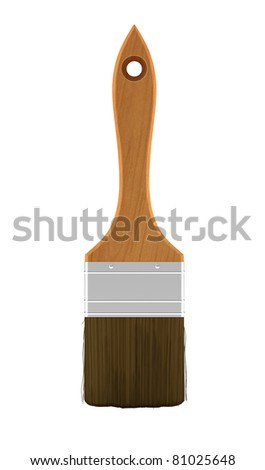 Housework: wooden paintbrush isolated over white background