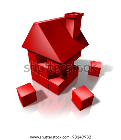 Housing construction And Real Estate industry builders with red cube blocks creating a new residence or renovating an old house or home on a white background. - stock photo