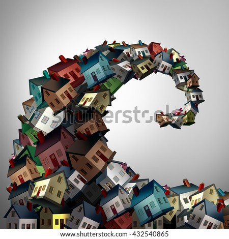 Housing crisis concept as a group of family homes shaped as an ocean wave as a real estate or residential property metaphor for risk and debt danger as a 3D illustration. - stock photo