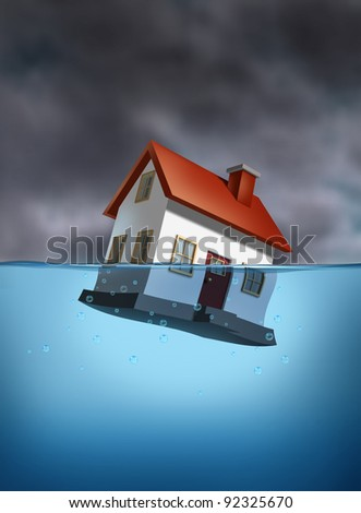 Housing crisis with a sinking home in the water as a dangerous dark stormy cloud background as a real estate housing concept of the challenges of home ownership and the business of mortgage rates. - stock photo