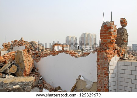 housing demolition materials in the demolition site, take photos in Luannan County, Hebei Province of China - stock photo