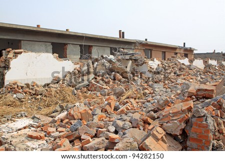 housing demolition materials in the demolition site, take photos in Luannan County, Hebei Province of China?? - stock photo