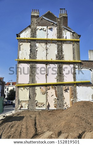 housing demolition site - stock photo