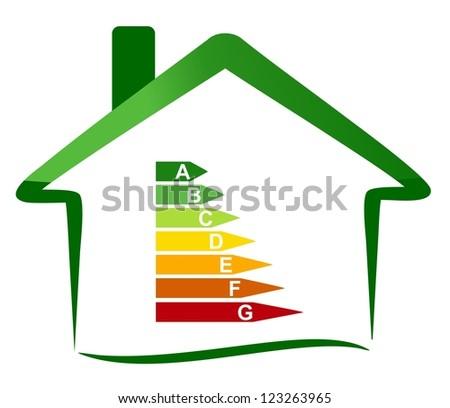 Housing energy efficiency - classification - stock photo