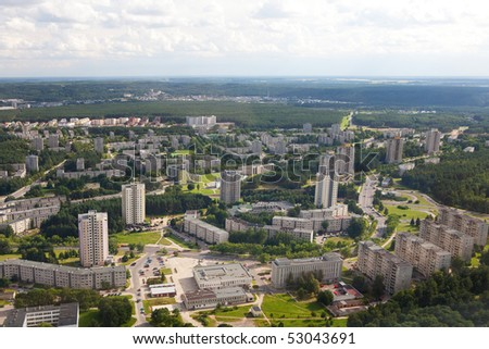 Housing estates in Lazdynai microdistrict in Vilnius, Lithuania. View from Vilnius TV Tower.