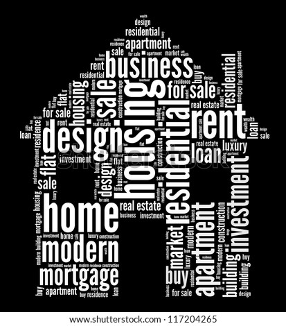Housing info-text graphics and arrangement word clouds concept - stock photo