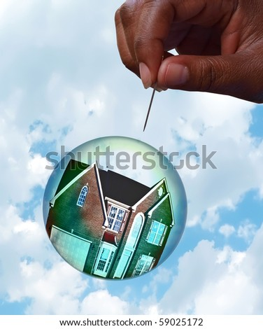 Housing market bubble burst concept photo with composition of home floating in a bubble towards a hand holding a pin depicting the fragility of the housing market. The house photo has been altered! - stock photo