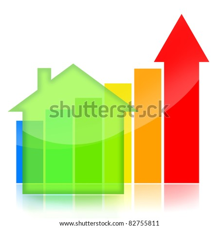 Housing market business charts with green house and colorful statisti?al bar