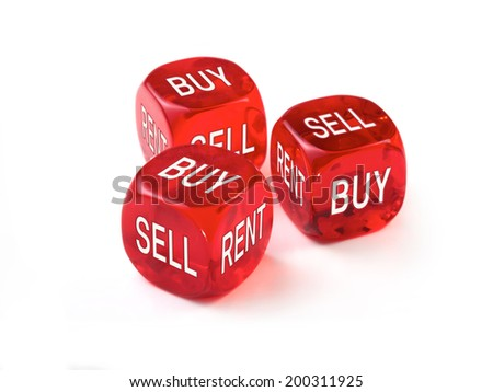 Housing market concept, three red dice on a White background.