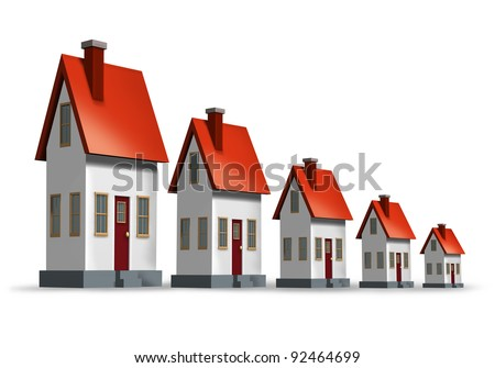 Housing market decline and lower real estate home sales and worsening of the housing and construction industries as a loss in the  economy and residential home builders contracts declining. - stock photo