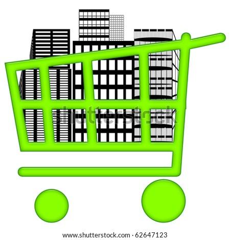 Housing market in consumer basket - stock photo