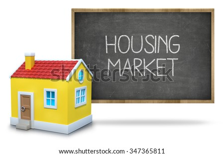 Housing market on black Blackboard with 3d house - stock photo