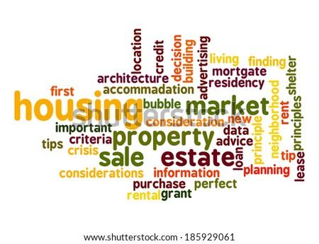Housing Market word cloud - stock photo