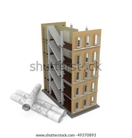 Housing project 3d - 3d illustration - stock photo