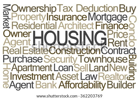 Housing Word Cloud on White Background - stock photo