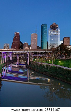 Houston Bayou and Downtown at Night Fall - stock photo