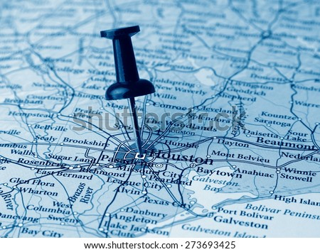 Houston  destination in the map - stock photo