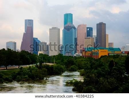 Houston downtown on a cloudy day - stock photo