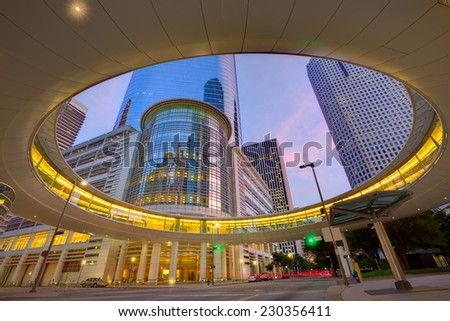 Houston Downtown sunset modern skyscrapers at Texas US USA - stock photo
